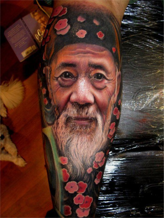 3D Old Man's Portrait Tattoo