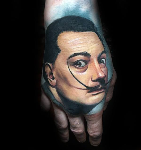 Awesome Portrait Hand Tattoo