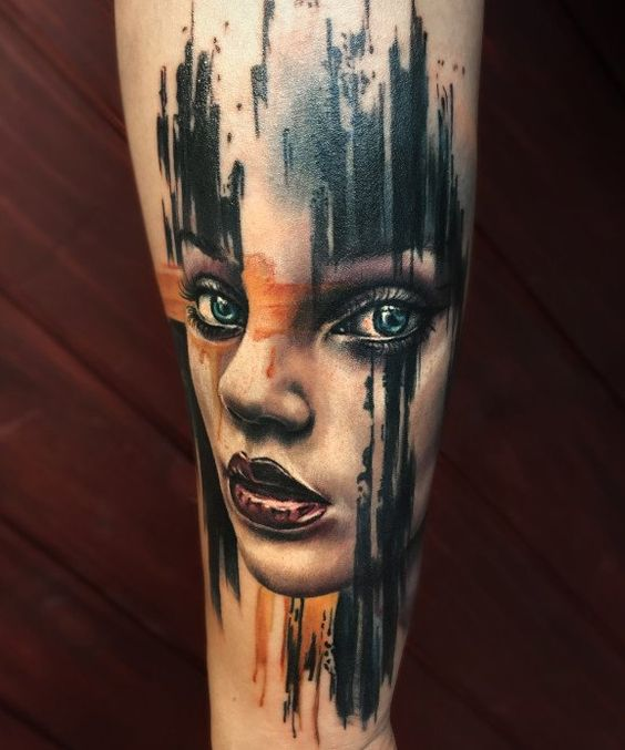 Brush Stroked Portrait Tattoo