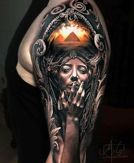 Egyptian Inspired Portrait Tattoo