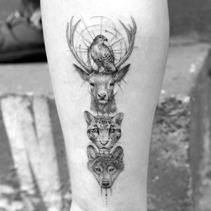 Fine Line Animals Forearm Tattoo