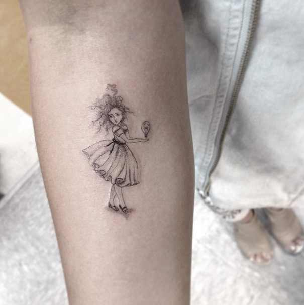 Fine Line Little Girl Tattoo