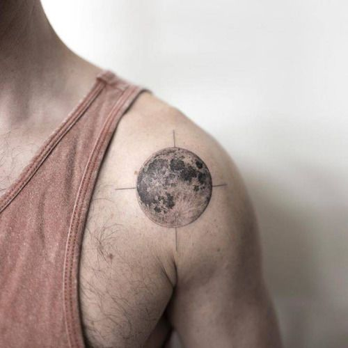 Fine Line Moon Shoulder Tattoo