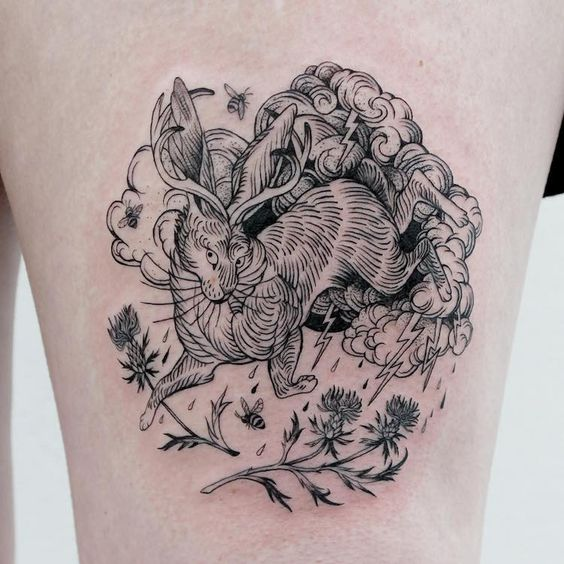 Fine Line Mythical Creature Tattoo