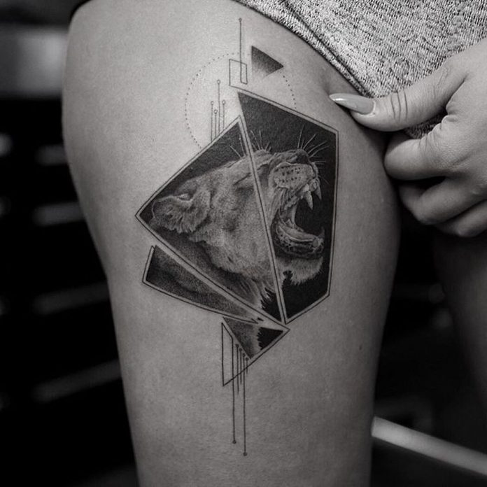 Fine Line Segmented Geometric Tattoo