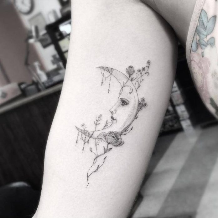 Fine Line Style Moon Arm Tattoo