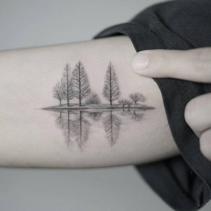 Fine Line Trees Tattoo