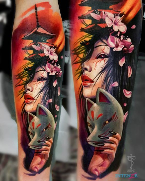 Japanese Lady Portrait Tattoo