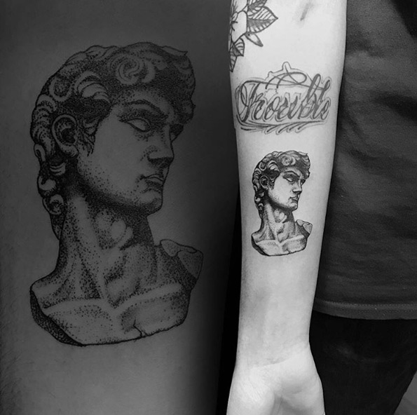 Michelangelo's David Forearm Tattoo
