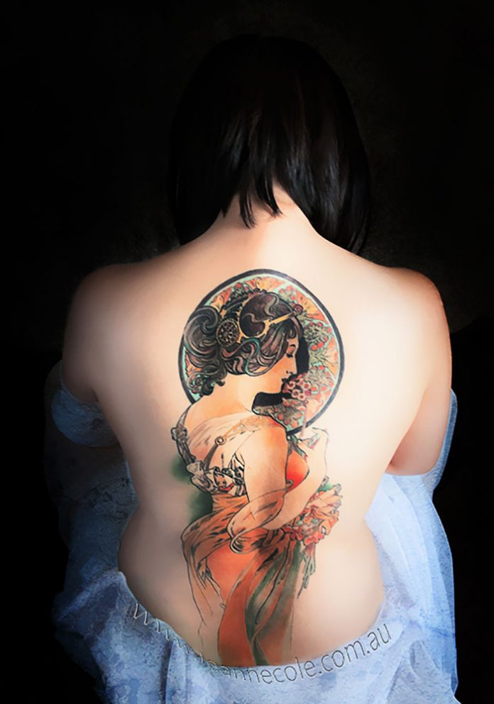 Mucha's Primrose Back Tattoo
