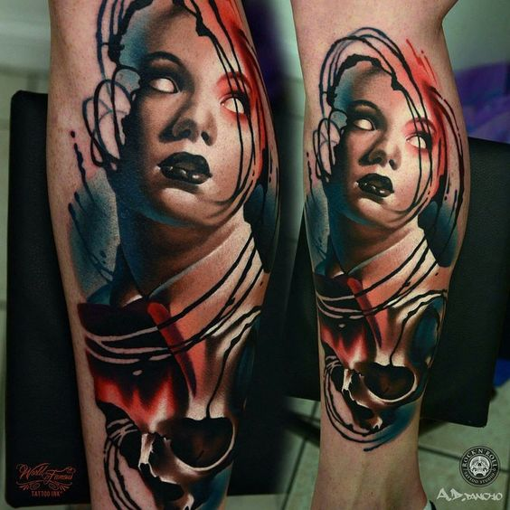No Eyes Lady Portrait Tattoo