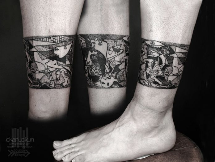 Picasso's Guernica Leg Band Tattoo