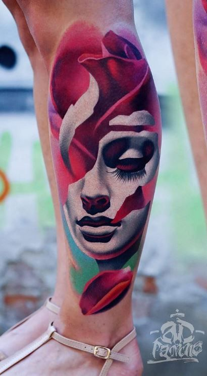 Rose Mask Leg Tattoo
