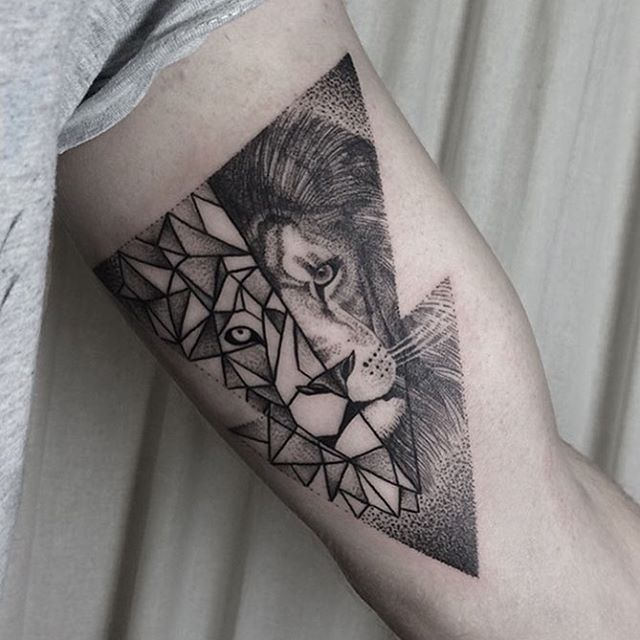 Segmented And Geometric Styled Lion Tattoo