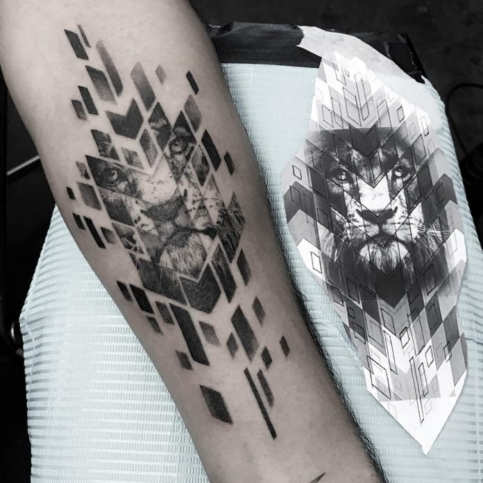 Segmented Lion Tattoo