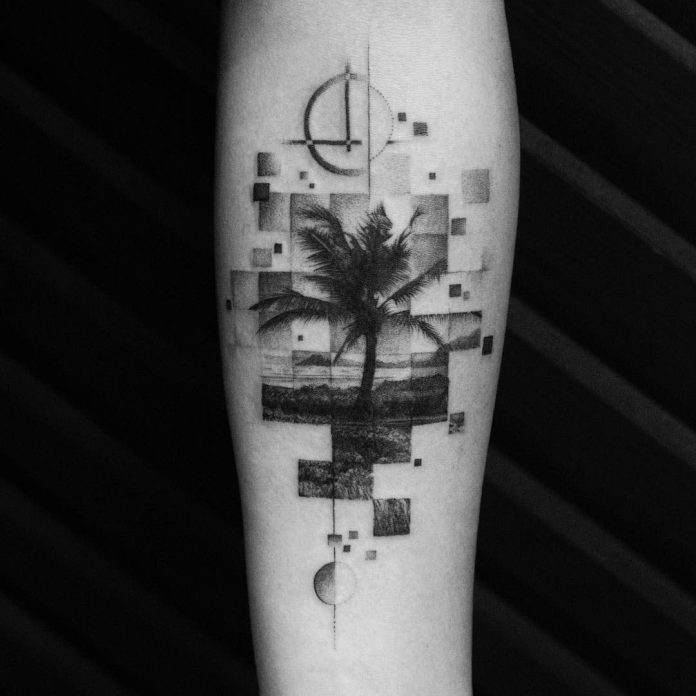 Segmented Palm Tree Forearm Tattoo