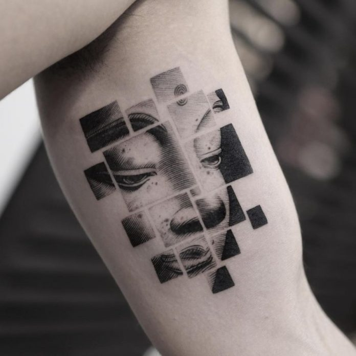 Segmented Portrait Arm Tattoo
