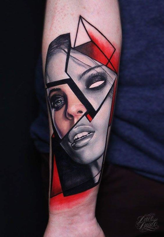 Segmented Portrait Tattoo
