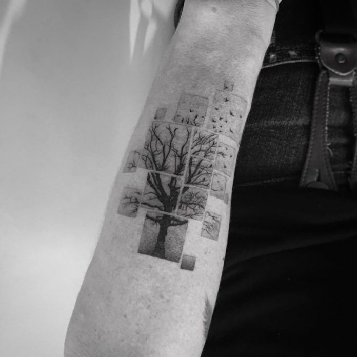 Segmented Tree Arm Tattoo