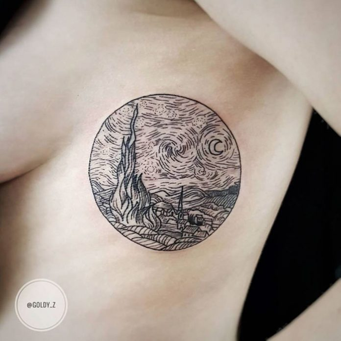 Starry Night Side Body Tattoo