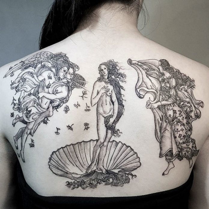The Birth of Venus Back Tattoo