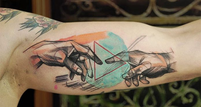 The Creation Of Adam Geometric Tattoo