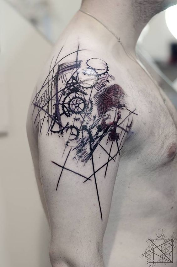Abstract Clockwork Shoulder Tattoo