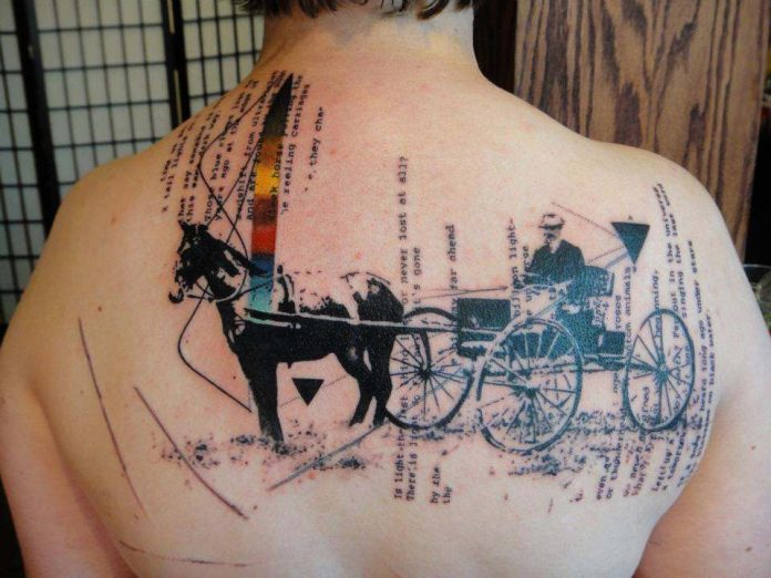 Abstract Horse Carriage With Text Back Tattoo