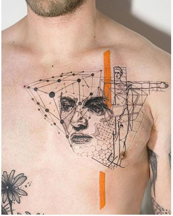 Abstract Human Symmetry Chest Tattoo