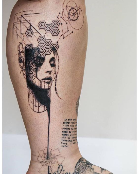 Abstract Portrait Leg Tattoo