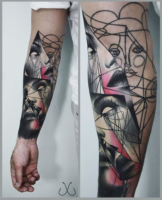 Abstract Portrait Sleeve Tattoo