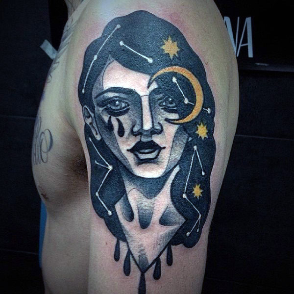 Constellation Portrait Arm Tattoo