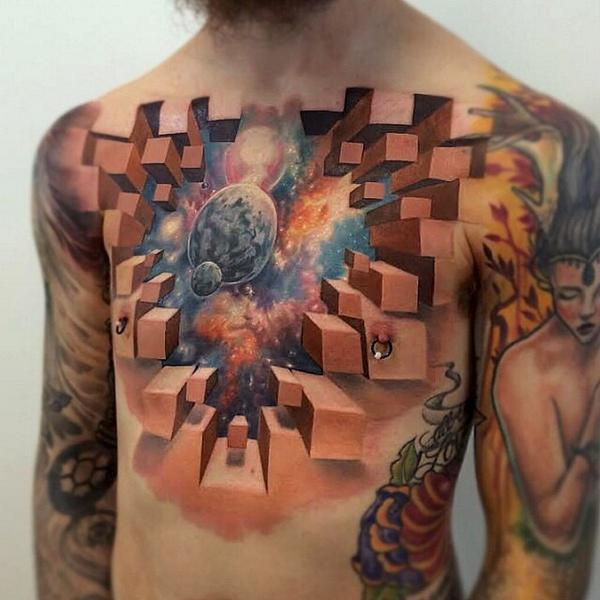 Cosmic Reveal Chest Illusion Tattoo