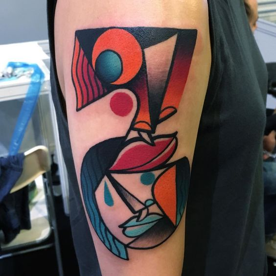 Cubism Abstract Arm Tattoo