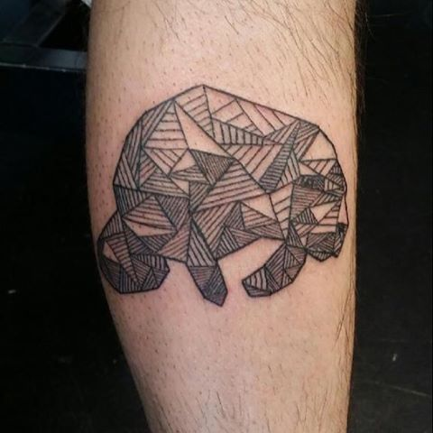 Geometrical Manatee Tattoo