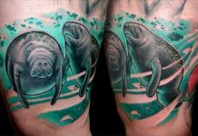 Manatee Family Thigh Tattoos