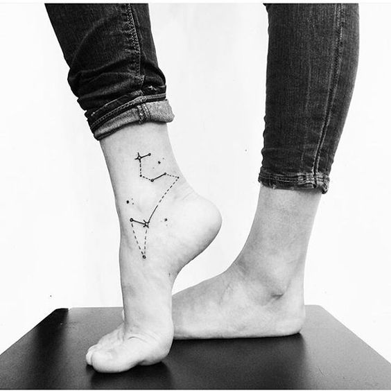 Simple Leo Constellation Leg Tattoo