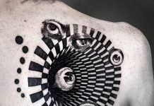 Six Eyed Optical Illusion Back Tattoo