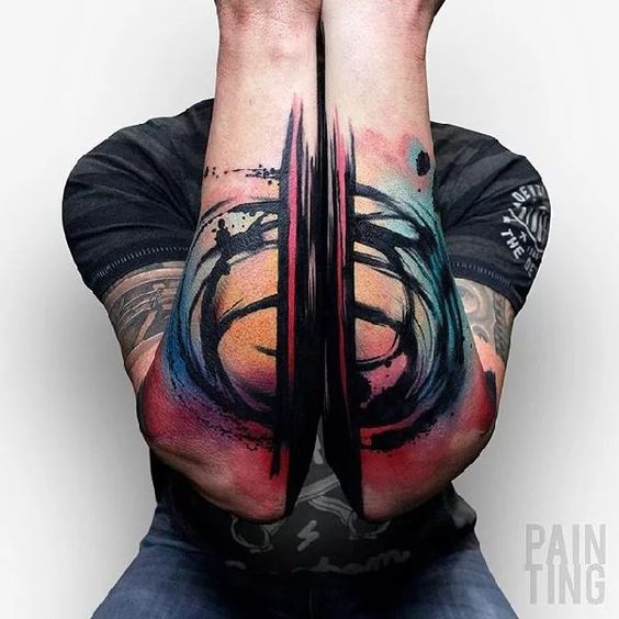 Vibrant Brush Stroked Abstract Tattoo