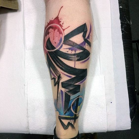 Watercolor Graffiti Abstract Tattoo