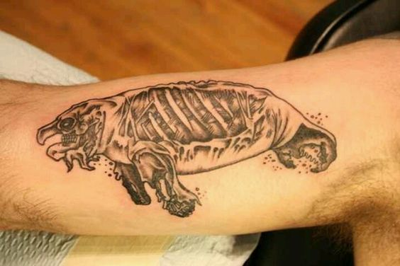 Zombie Manatee Arm Tattoo
