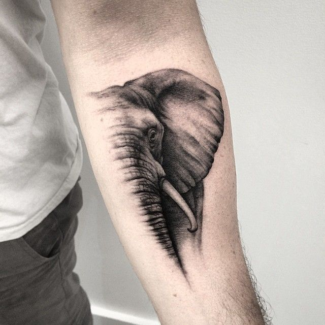 Black And Grey Elephant Forearm Tattoo