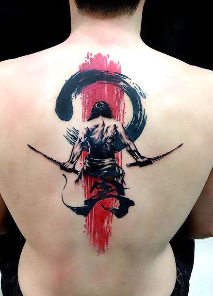 Brush Stroke Samurai Back Tattoo