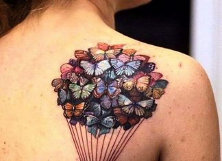 Butterfly Flock Back Shoulder Tattoo