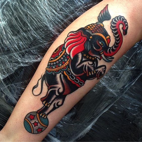 Circus Elephant Leg Tattoo