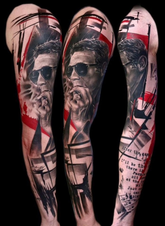Contemporary Portrait Sleeve Tattoo