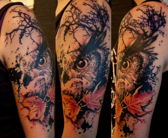 Cool Owl Arm Tattoo
