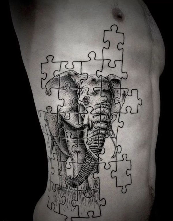 Elephant Puzzle Side Body Tattoo