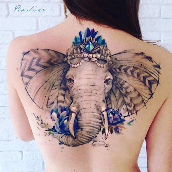 Feminine Watercolor Elephant Back Tattoo