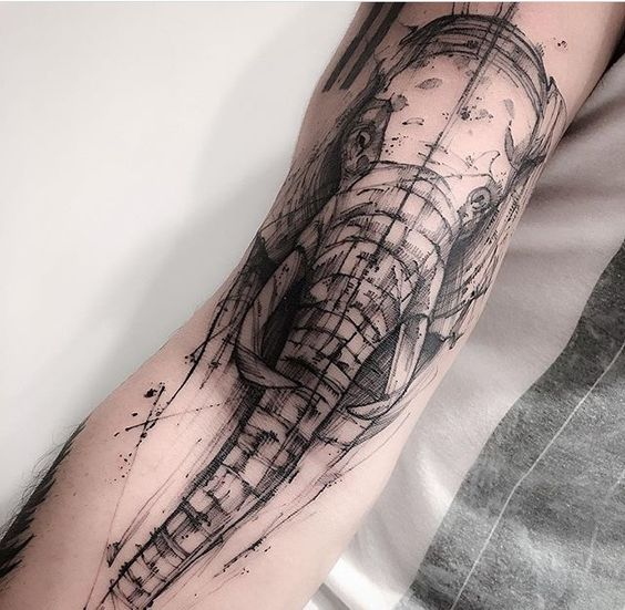 Fine Line Elephant Arm Tattoo